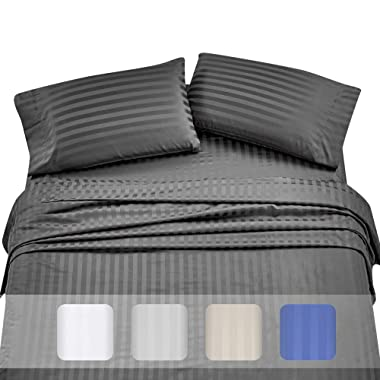 California Design High Thread Count Sheets for Bed -100% Long Staple Combed Cotton, Woven 500 TC Damask Stripe Full Grey, 4 Piece Bedding Set Hotel Quality, Oeko-TEX Certified