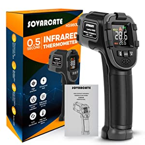 Infrared Thermometer SOVARCATE Digital IR Laser Thermometer Temperature Gun High and Low Temperature Alarm -58°F~1112°F Temperature Probe Cooking/Air/Refrigerator