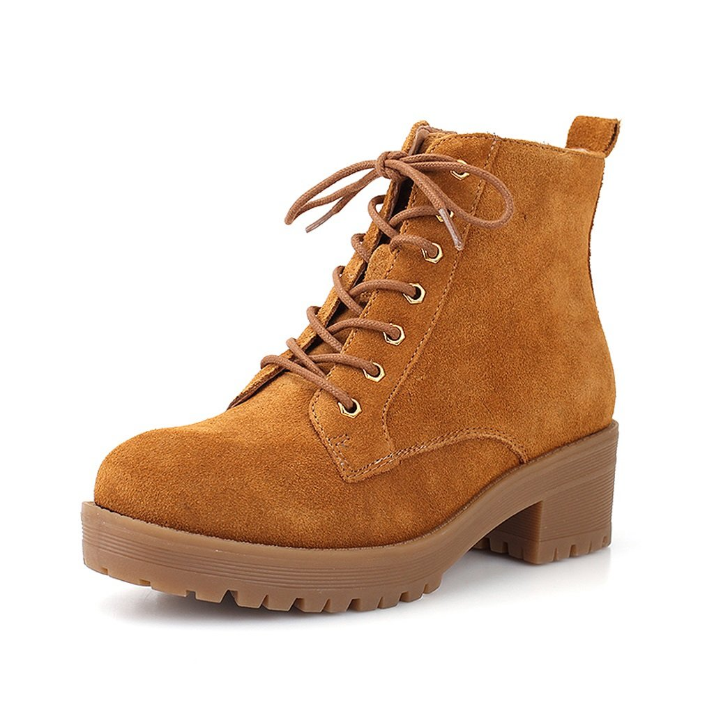 Woman's winter martin boots cow leather warm boots ( Color : Brown , Size : US:6.5UK:5.5EUR:38 )