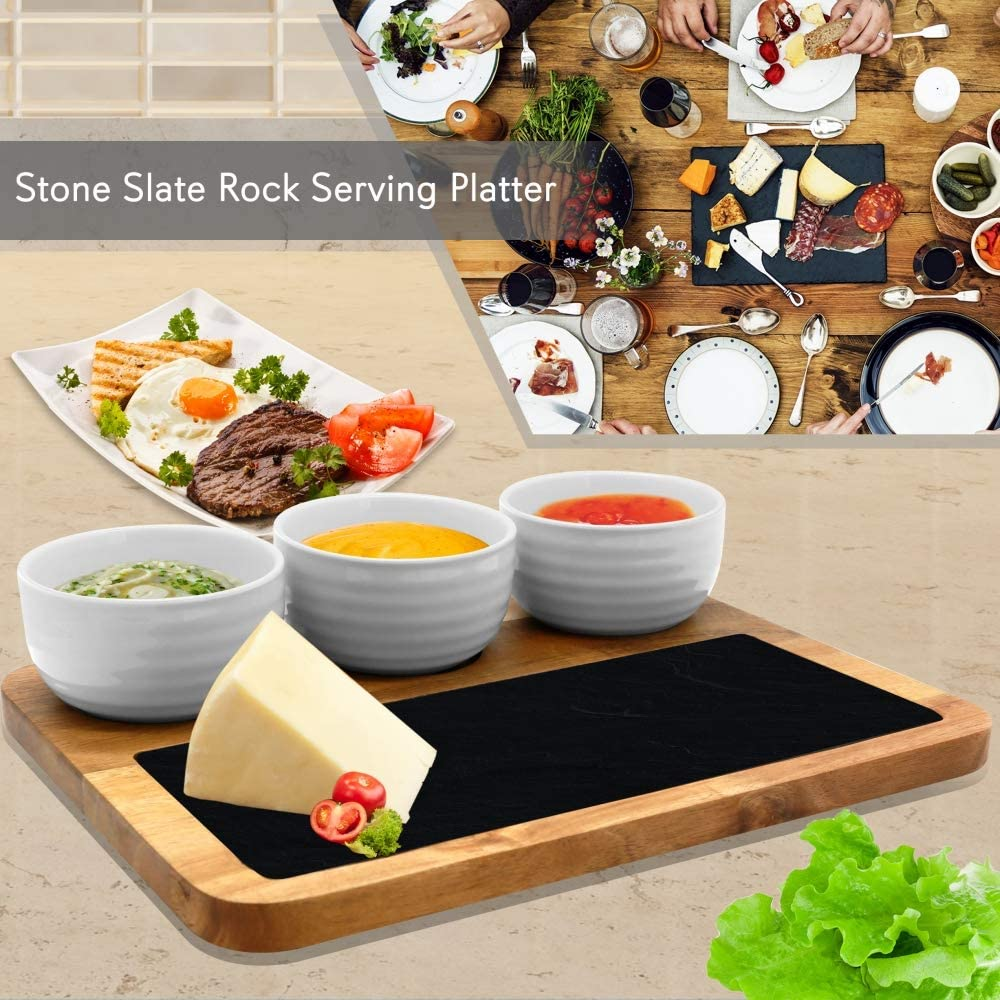Gr8 Home Slate Stone Grey Cheese Board Dipping Dish Presentation Serving Plate