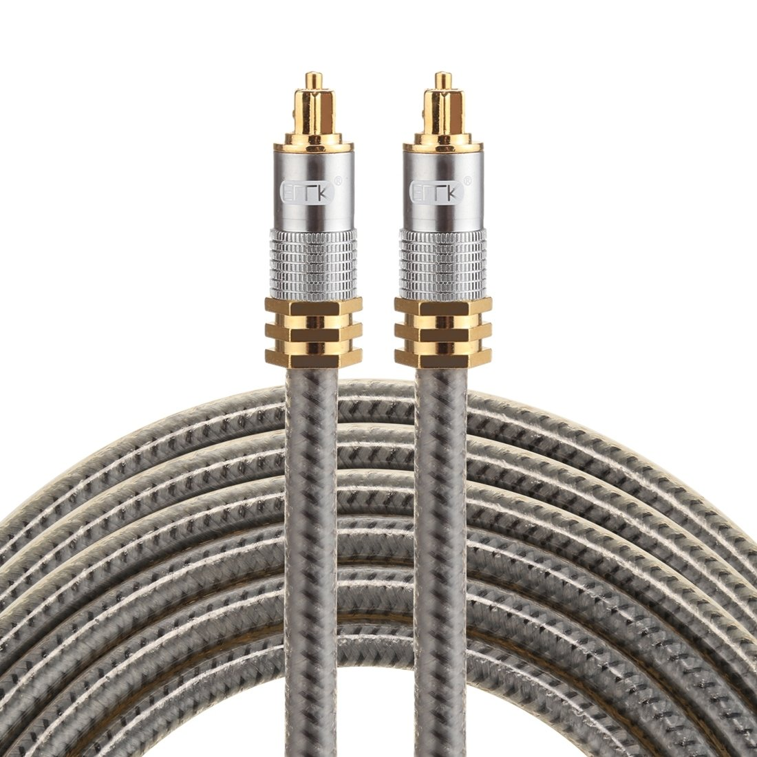 Optical Cables, EMK YL-A 3m OD8.0mm Gold Plated Metal Head Toslink Male to Male Digital Optical Audio Cable