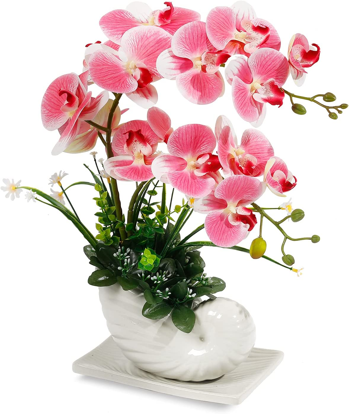 Orchid Pink Flowers Artificial Orchid Fake Orchid Flower Faux Orchids Pink with White Ceramic Vase Artificial Flowers Artificial Orchid Plants for Home Decor Indoor Office Table Centerpieces