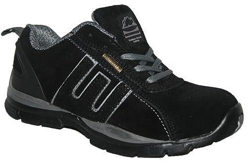 Ladies Ligero Piel, Puntera de Acero Cordones Zapatillas de Seguridad, Color, Talla 35.5