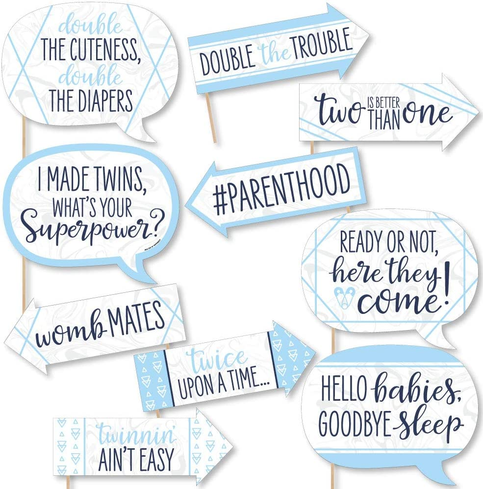 Amazon Com Funny It S Twin Boys Blue Twins Baby Shower Photo Booth Props Kit 10 Piece Camera Photo