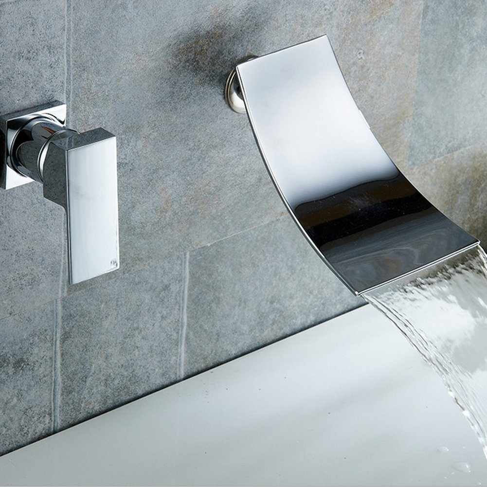Wall Mount Bathroom Faucet Waterfall Lavatory Sink Faucet Single Handle Tub Mixer Tap,Chrome Finish Lead-Free Brass