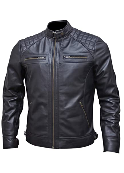 Amazon.com: Chaqueta de piel negra para hombre para ...