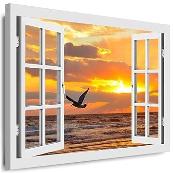 Blick aus dem fenster poster  Amazon.de: BOIKAL XXL09-1 Fensterblick Leinwand bild 3D Illusion ...