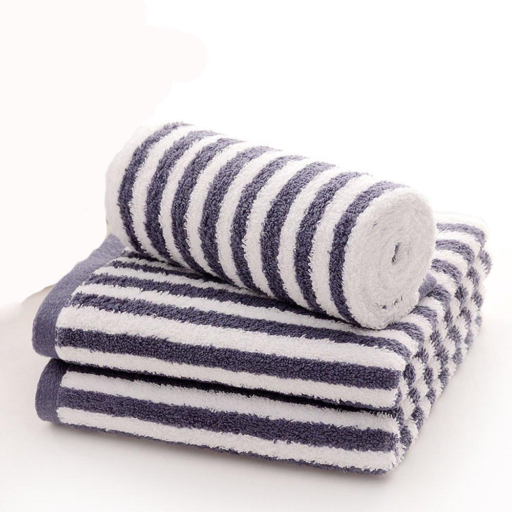 chrislz 2 pcs toalla de algodón azul y marrón toallas de rayas de tela toalla de mano hogar toalla de baño belleza toalla multiusos manopla, toalla de playa ...