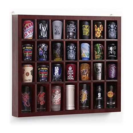 Yaheetech 28 Shot Glass Display Case Glass Display Cabinet Shot Glasses  Case Holder Cabinet Rack Solid