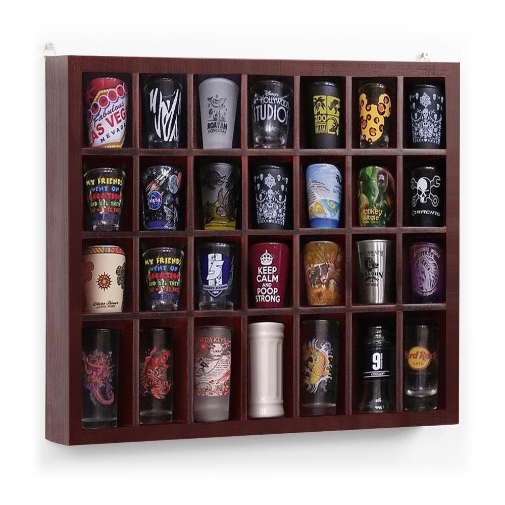 Yaheetech 28 Shot Glass Display Case Glass Display Cabinet Shot Glasses Case Holder Cabinet Rack Solid Wood No Door Mahogany