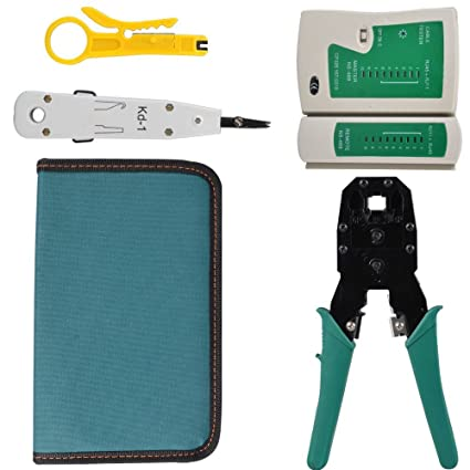 Racksoy – Profesional de 4 en 1 cable de red Alicate Juego de reparación de herramienta