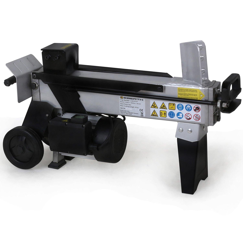 EBERTH hydraulischer Holzspalter Holzspaltmaschine (5 T, 370 mm, liegend, 1500 Watt, beidhändige Bedienung, Griff und Transporträder) schwarz silber