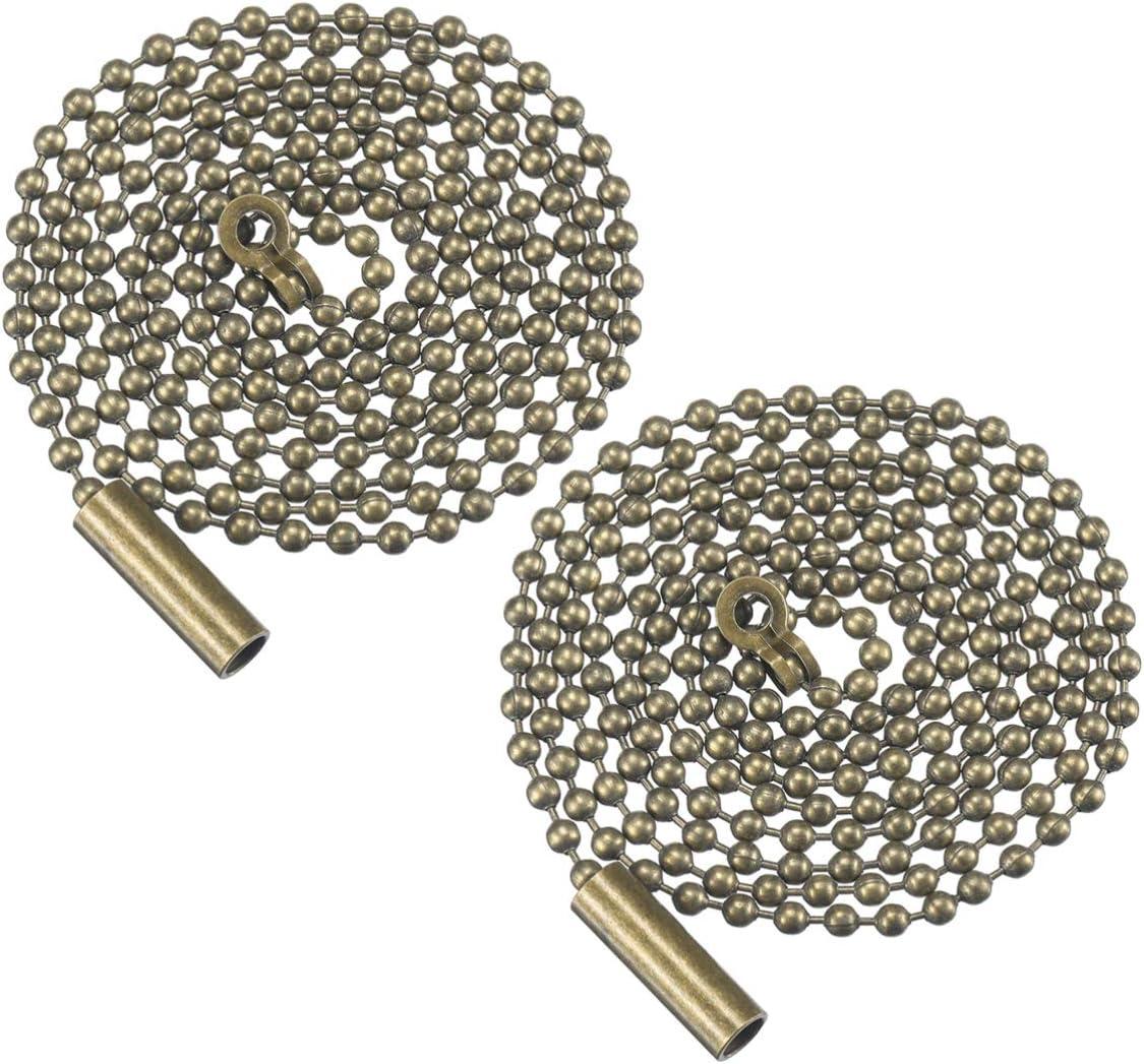 Uonlytech cadena de extracción del ventilador de techo 2 piezas extensor de cadena de ventilador de techo con cuentas de bronce con conector ventilador colgante de luz de techo adorno de luz de pared
