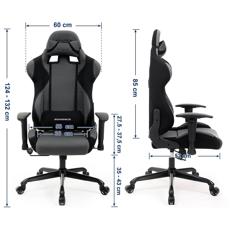SONGMICS SONGMICS SONGMICS Bürostuhl Gaming Stuhl mit hoher Rückenlehne Formschaum gepolsterte Sitzschale verstellbare Kopfkissen und Lendenkissen für Soho- oder Büroarbeit schwarz-grau RCG02G 139572