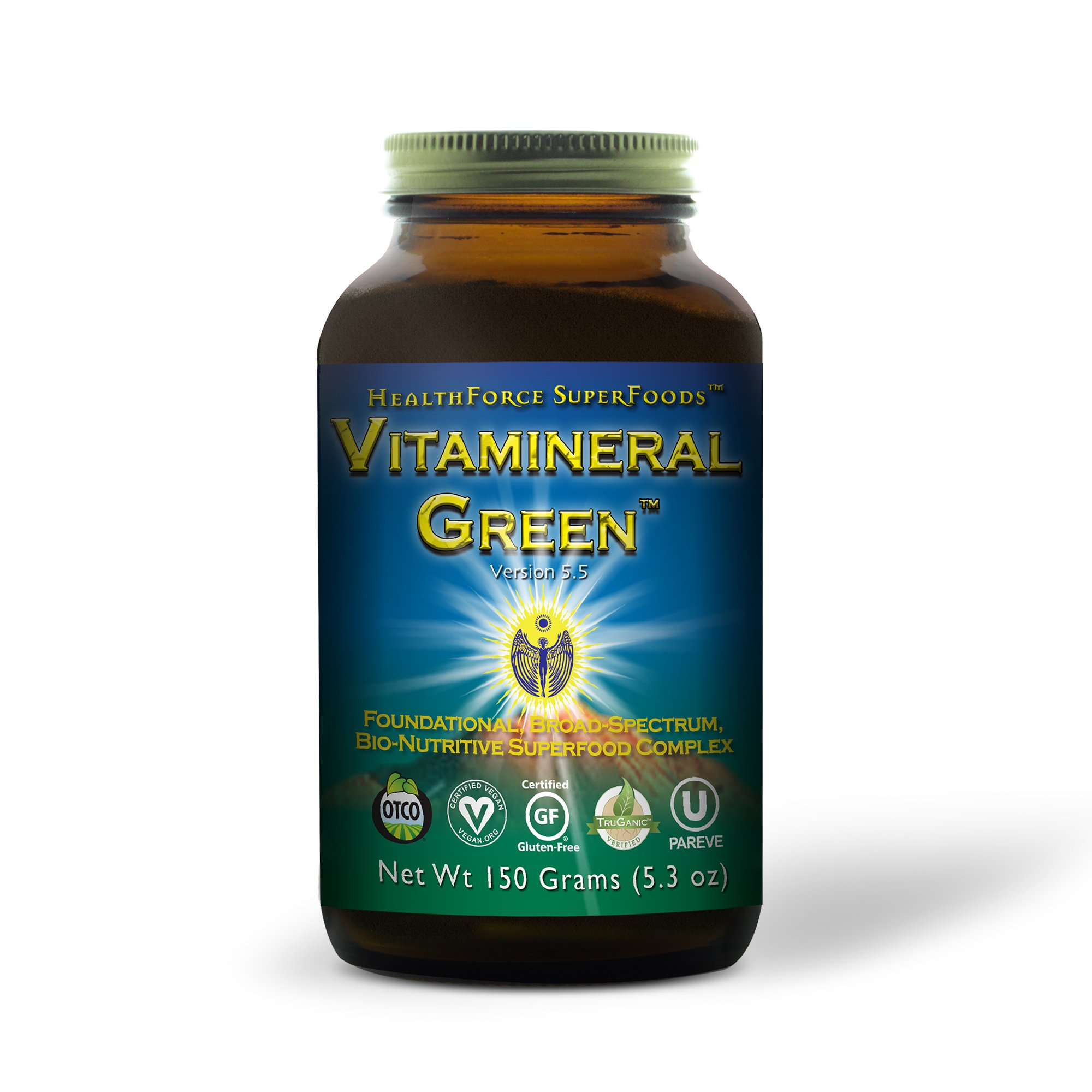 HealthForce SuperFoods Vitamineral Green, Superfood Complex, Vitamins, Minerals, Amino Acids (Protein), Antioxidants, Fibers, All-Natural, Organic, Non-GMO, Vegan, 150 Grams Powder