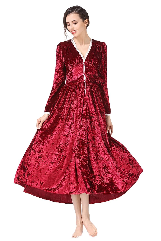 Retro Nightgown Long Sleeve Square Neck Sleepwear Pajamas Nightwear Lounge Dress Faddist Spark Malls-CA