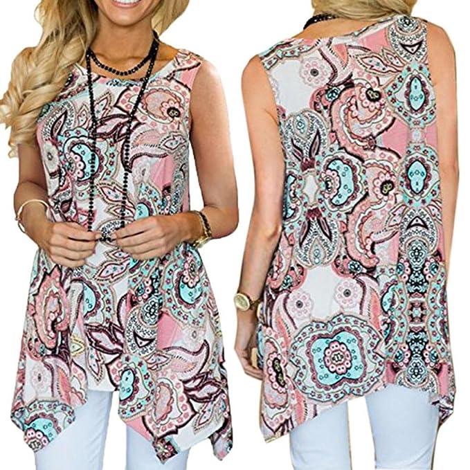 DOGZI Camisas Mujer Blusas para Blusa Irregular Casual para Mujer con Estampado De Túnicas Sueltas AsiméTricas Sin Mangas Blusas para Mujer Verano S-5XL: ...