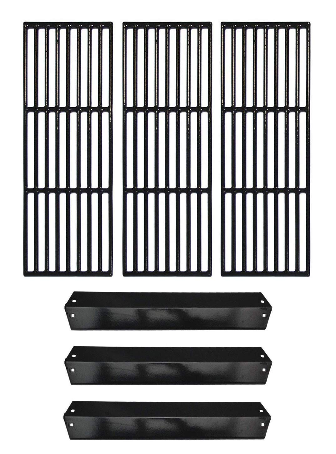 Hongso Repair Kit Porcelain Coated Cast Iron Grill Grates and Porcelain Steel Heat Plates Replacement for Char Griller Models 5050 3001 5650 5072 3030 4208 4000 3008, King Griller 3008 5252 Gas Grills
