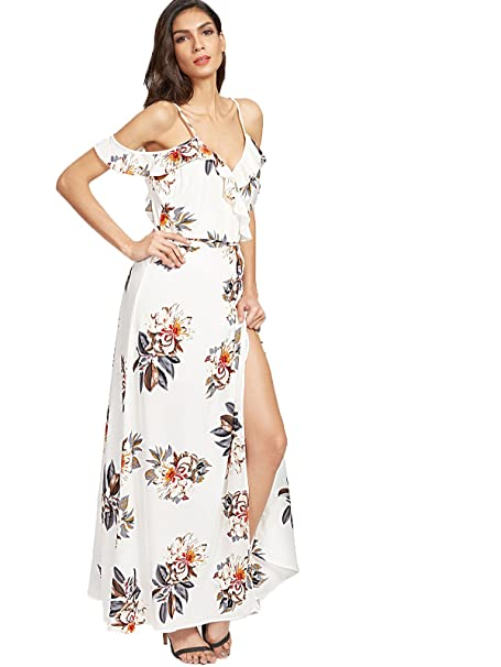 2520c23939 Floerns Women's Sleeveless Halter Neck Vintage Floral Print Maxi Dress  X-Large White-Beige at Amazon Women's Clothing store: