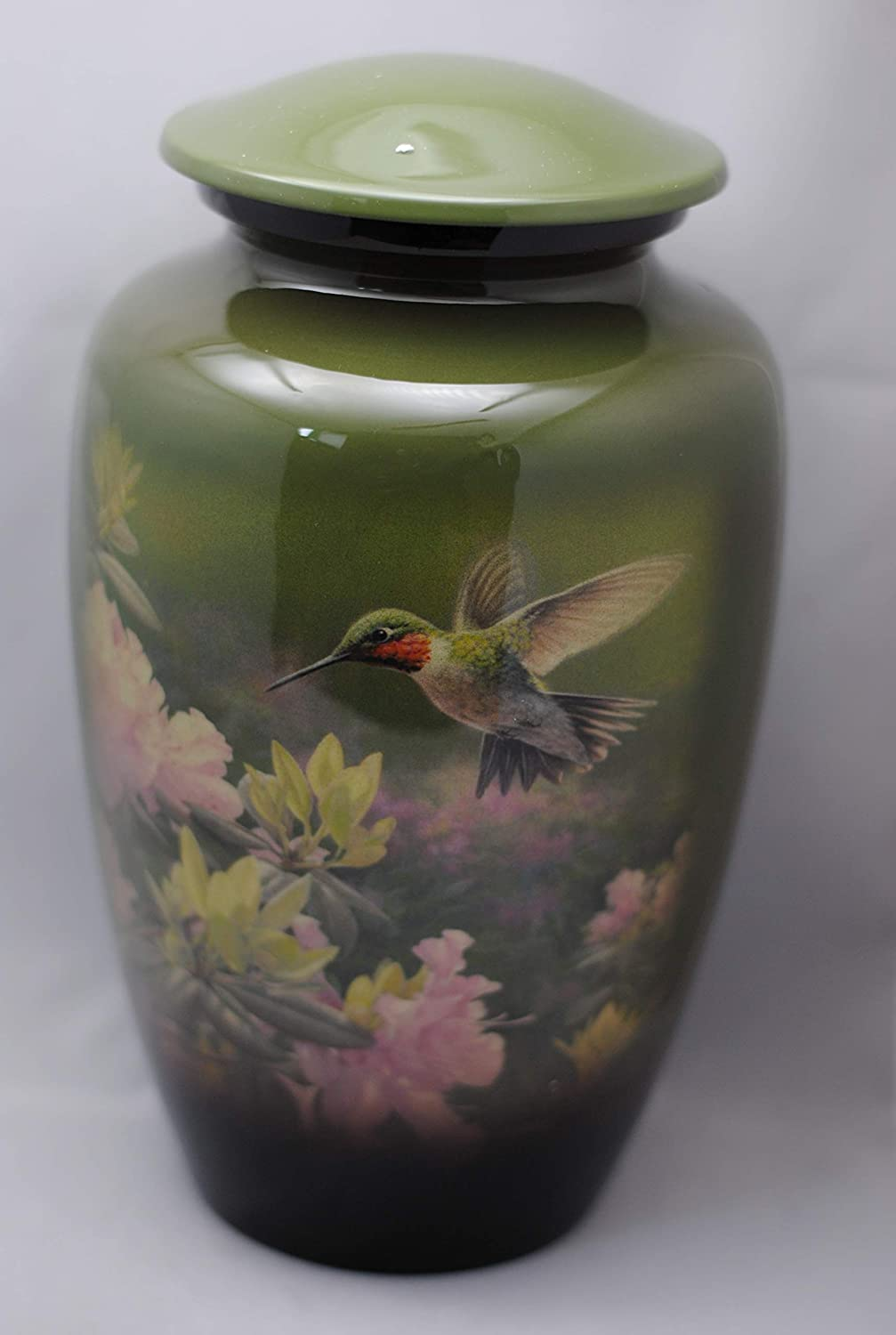 Handcrafted Colourful with Sleek Lacquer Coating Olive Green Hummingbird Cremation Urn Width 6 Height 10.5