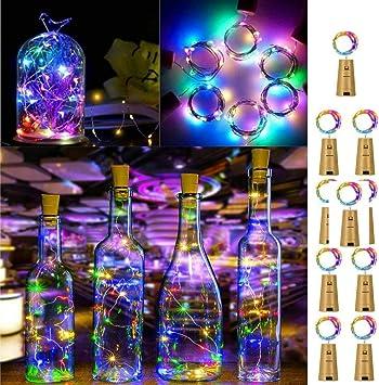 LED Luz de Botella,9 Pack Luces Led para Botellas de Vino 2M 20 LED Luz Corcho con Baterías Lámparas de Botellas para Fiesta Boda Navidad Bricolaje interior al aire libre Decoración Colores: