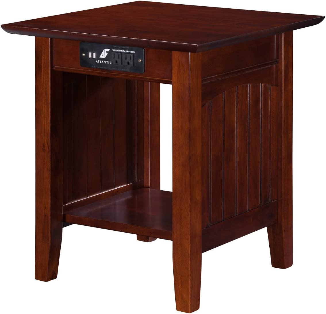 Atlantic Furniture Nantucket End Table with Charging Station, Walnut
