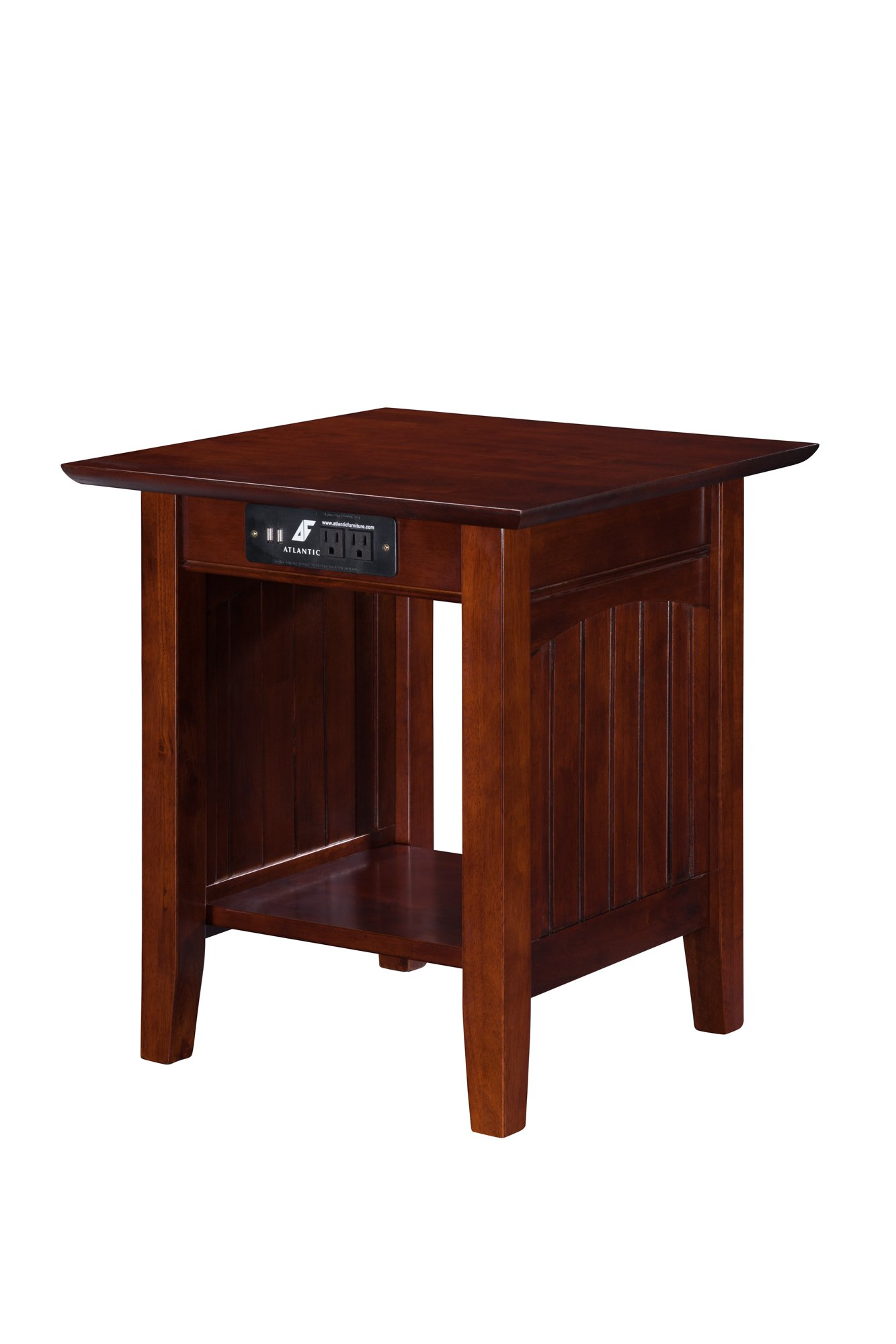 Nantucket End Table with USB Charger, Walnut