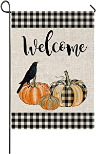 Crow Raven Buffalo Check Pumpkin Garden Flag Halloween Vertical Double Sized Welcome Quote, Fall Halloween Yard Outdoor Decoration 12.5 x 18 Inch