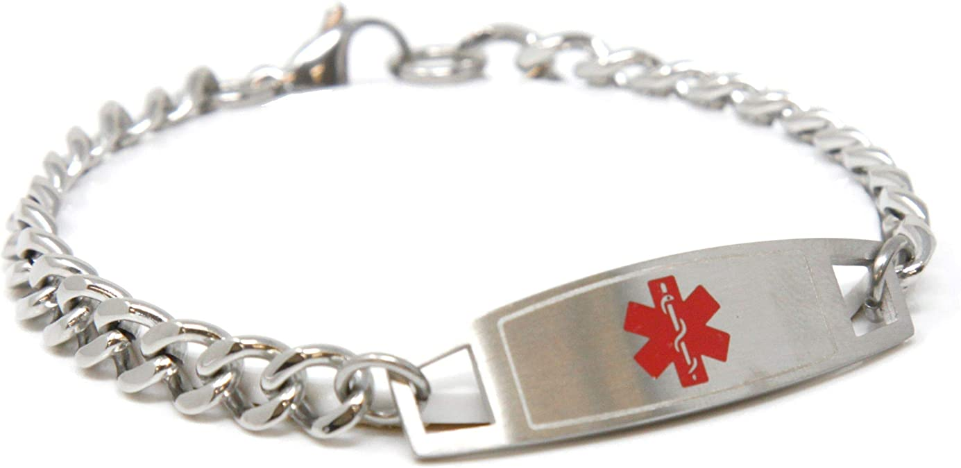 My Identity Doctor Red Millefiori Glass Customized White Pre-Engraved /& Customized Insulin Dependent ID Bracelet