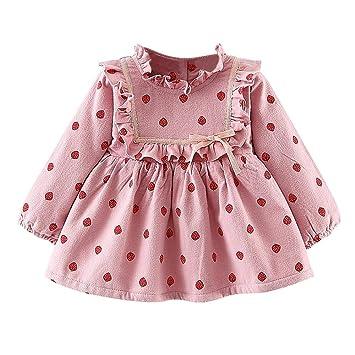 c4f3ee1e1 Amazon.com : Fashion Autumn Little Girls Fruit Print Velvet Ruffle Dress  Long Sleeve Korean Kids Dresses : Baby