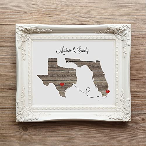 Amazon any two states love wedding gift unframed any two states love wedding gift unframed personalized state natural series custom location modern negle Image collections