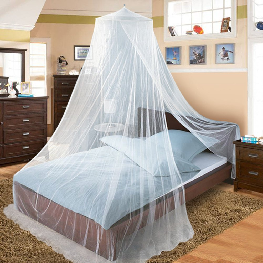 Twinkle Star Mosquito Net Bed Canopy for Single to King Size Beds, White