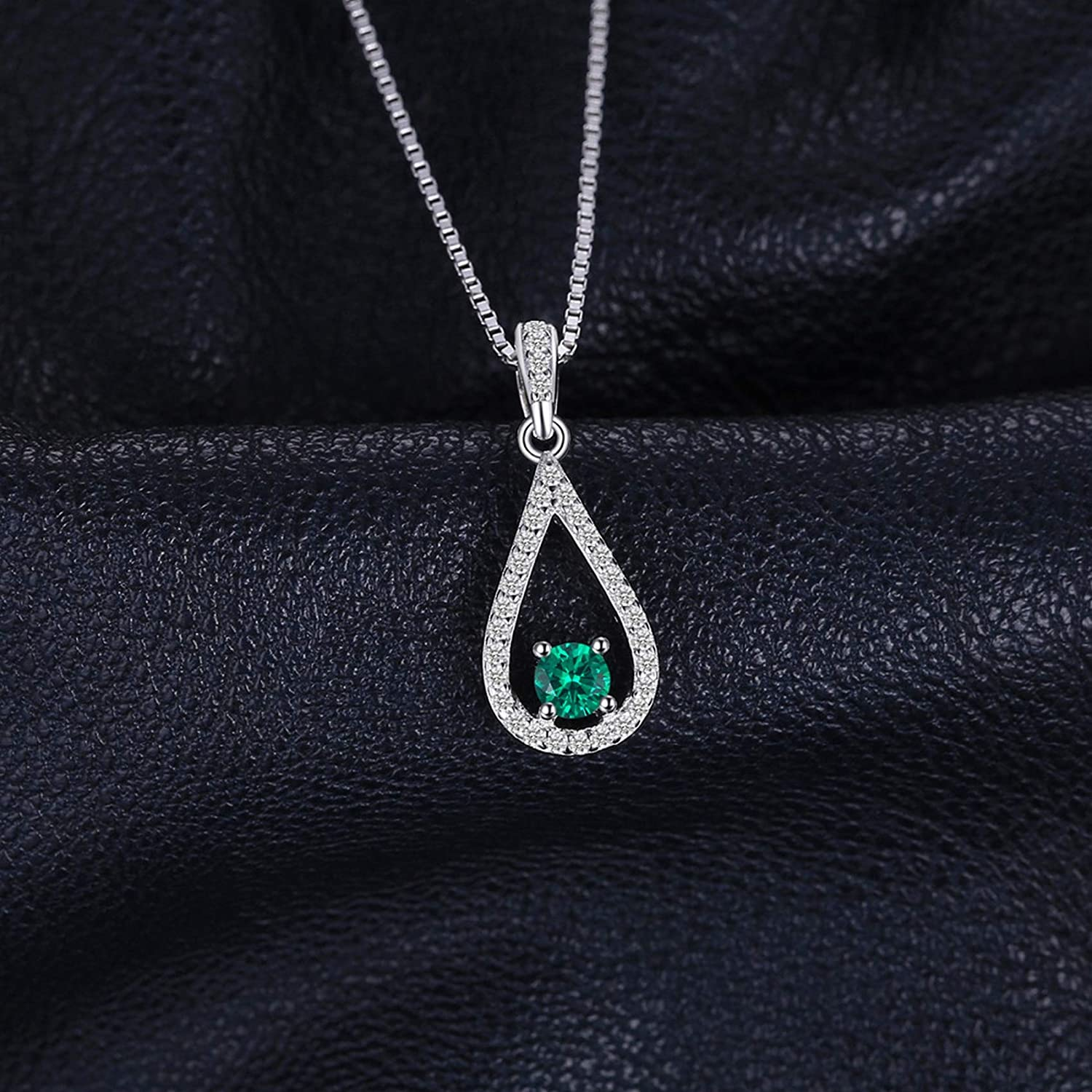 Pendants Necklaces by CS-DB Elegance Pear Nano Russian Emerald Drop Silver Womens Jewelry