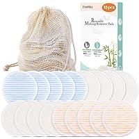 Coton démaquillant lavable 18 PCS Lingette demaquillante lavable réutilisable Biologique + 1 Sac à linge | Tampon Velours (devant) & Fibre du bambou (dos) Super doux Double épaisseur