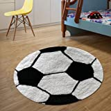 The Home Talk Kids Bath mat/Floor Rug, Football Design, 100% Cotton, 60 cm Round, Anti-Skid Backing, White & Black