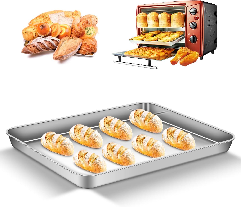 Set of 2 Superior Spiegel Oberfl/äche /& Sp/ülmaschinenfest AEMIAO Edelstahl Tablett Backblech Bakeware Ofenblech Pfanne Tablett Set Profi Kuchenblech f/ür die K/üche zu Hause Antihaftbeschichtung