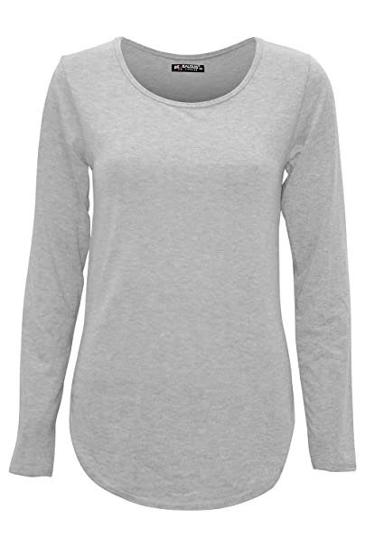 96efee76604a3 Be Jealous Womens Ladies Plain Casual Long Sleeve Curved Hem Stretchy  Jersey T Shirt Top UK Plus Size 8-22  Amazon.co.uk  Clothing