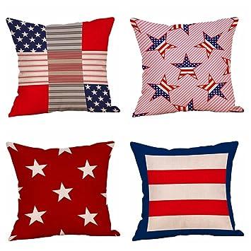 Amazon.com: Juego de 4 fundas de almohada con diseño de ...