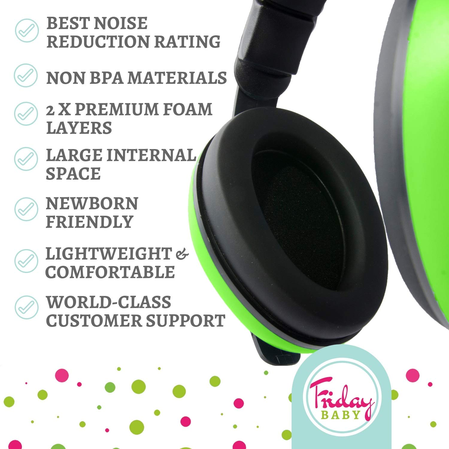 Baby Ear Protection - Comfortable and Adjustable Premium Noise Cancelling Headphones for Babies, Infants, Newborns (0-2+ Years) | Best Baby Headphones Noise Reduction for Concerts, Fireworks & Travels by Friday Baby (Image #8)