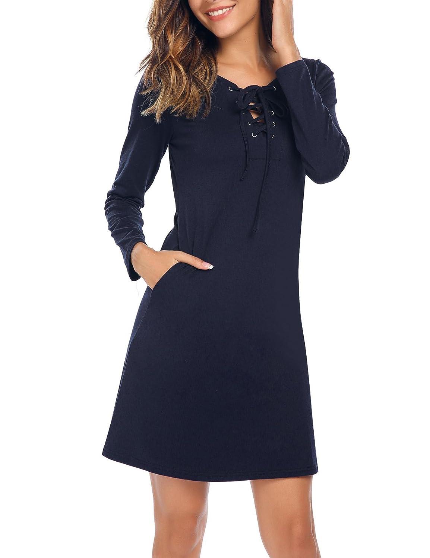 949e029e47c Meaneor Tunique Femme Robe Elastique Col Rond Poche Manche Long Cintré  Mince Uni