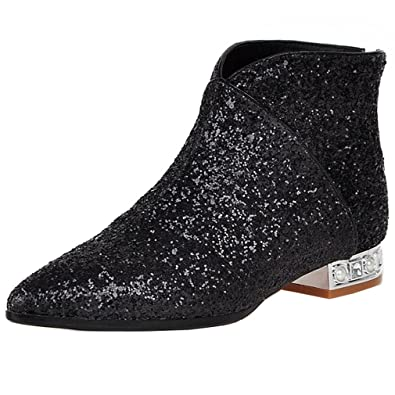 Women's Charming Sequins Style Mid Block Heel Ankle Boots