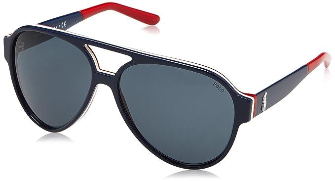 Amazon.com: anteojos de sol Polo PH 4130 566787 azul/blanco ...