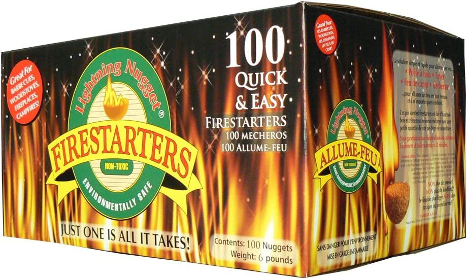 100 Count Lightning Nuggets N100SEB Firestarters Super Economy Box of Fire-Starting Nuggets