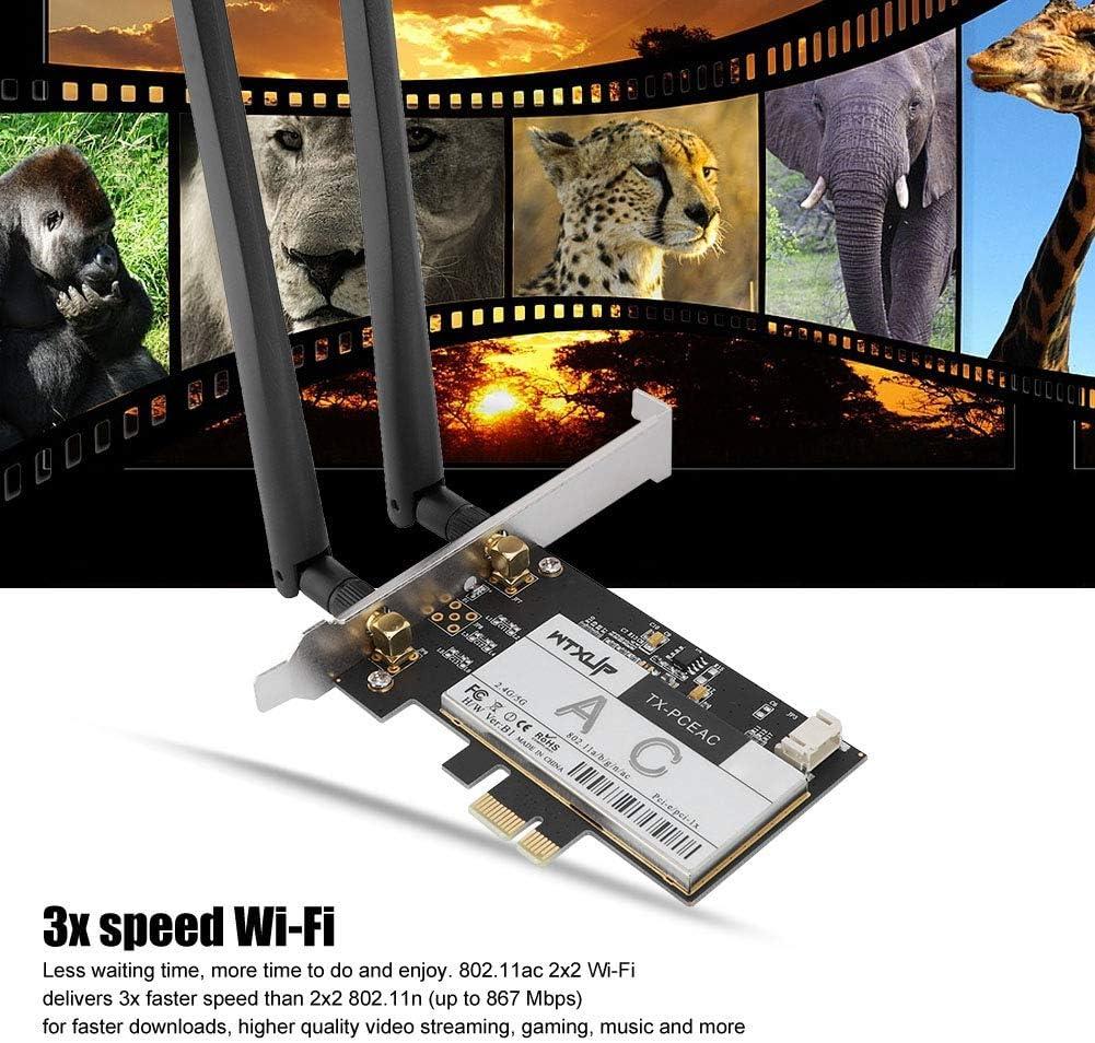 Wireless Bluetooth Network Card,Bluetooth 4.1 Smart Ready,3X Speed Wi-Fi,The Third Generation of 802.11ac,PCI-E Desktop PC 1300Mbps Wireless Network Card Bluetooth 4.1 for Qualcomm QCNFA344