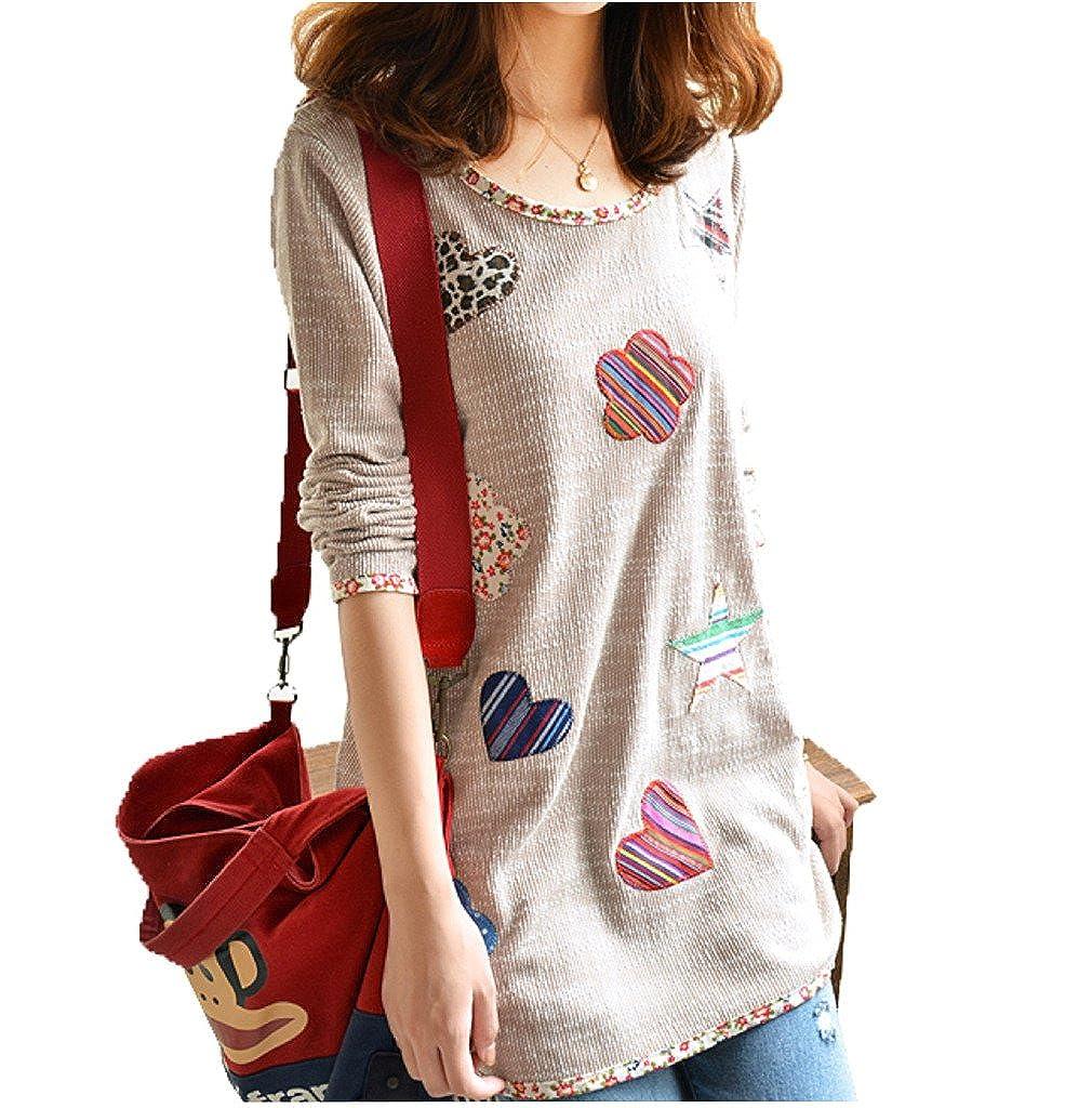 WSLCN Womens Grils Long T-Shirt Loose Fit Cute Floral Patch TX0291