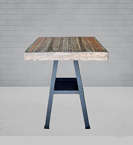 Amazoncom Counter Height Table Industrial Reclaimed Wood W Lower