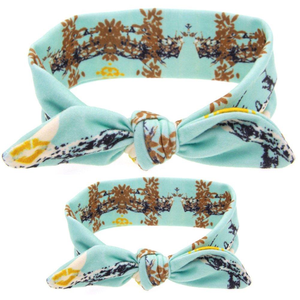 Kanggest - Set di fasce con nodo per mamma e figlia, stile orecchie di coniglio, 2 unità 67cm * 5cm Cielo blu