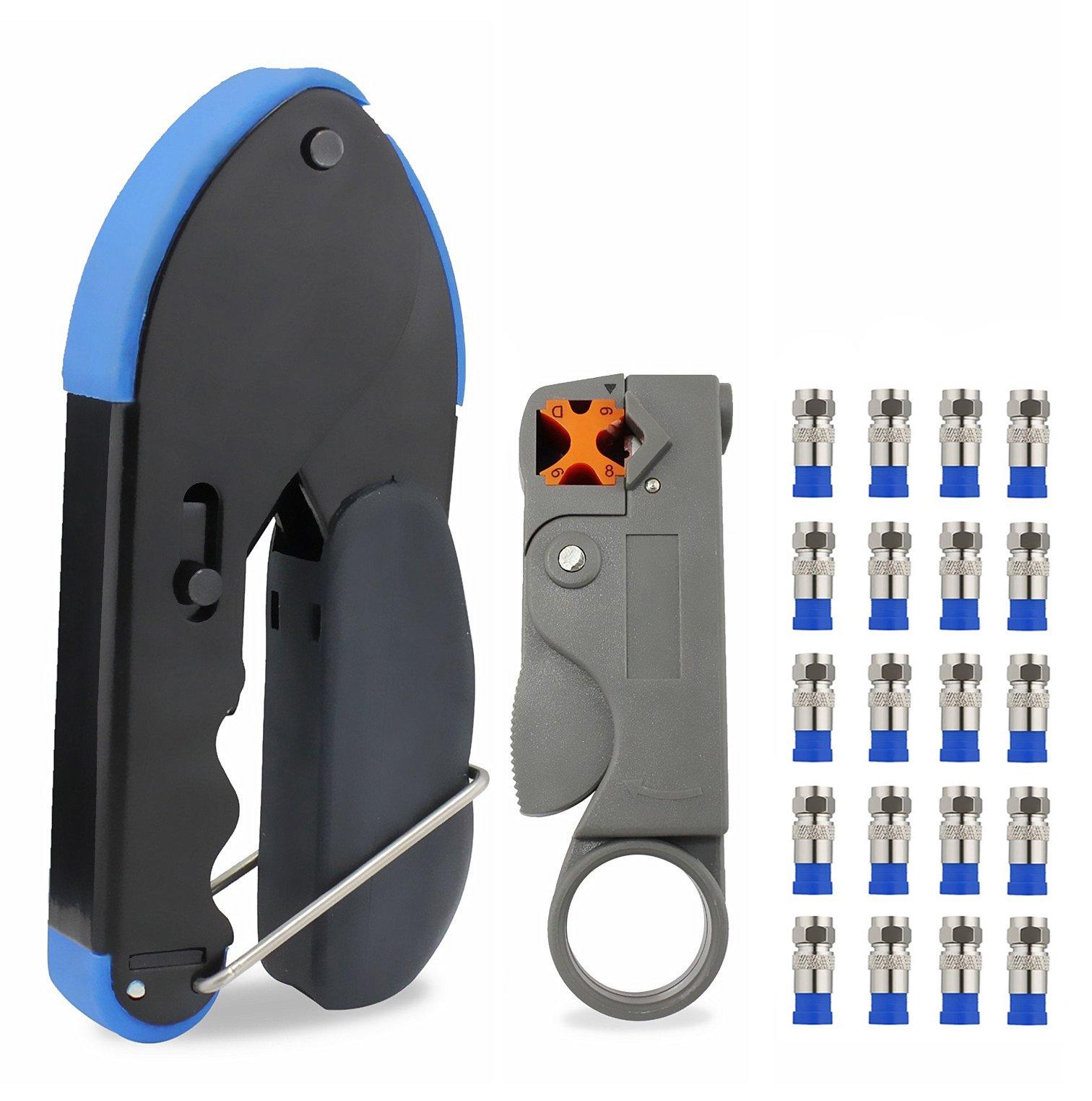 abcGoodefg RG59 RG6 RG11 Coax Compression Crimp Tool Connector Hand Crimper Crimping Tool Waterproof (Blue Tool Set)