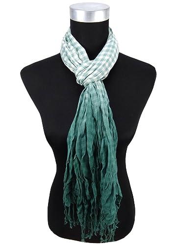 arrugado bufanda de verde verde oscuro blanco a cuadros con refriega – tamaño 180 x 50 cm