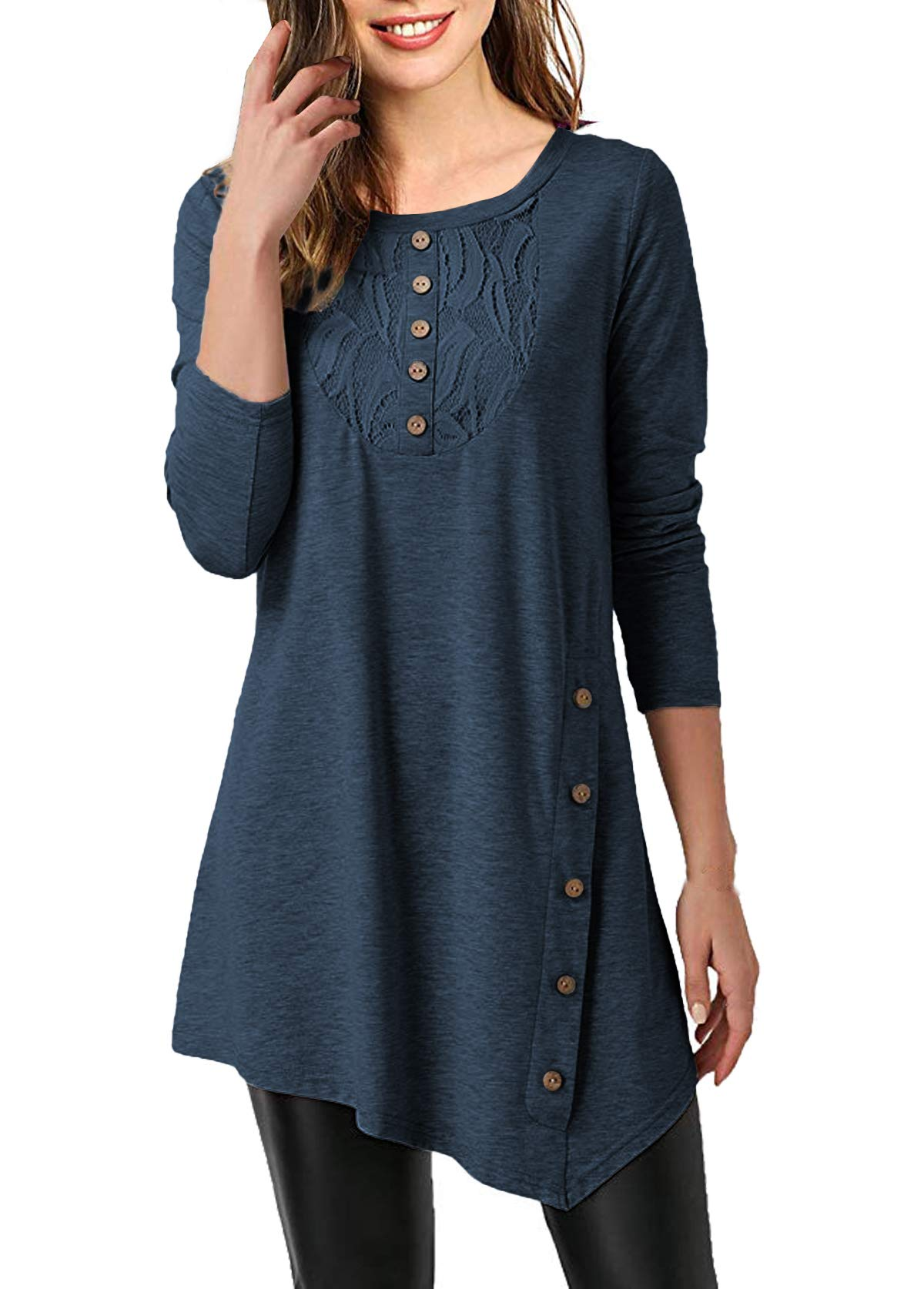 Mystry Zone Women's Shirts and Blouse Lace Buttons Neck Solid Color Tunics Blouse Navyblue Large by Mystry Zone